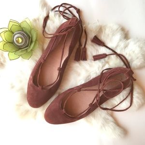 Madewell Inga Lace Up Ballet Flat Pink Suede